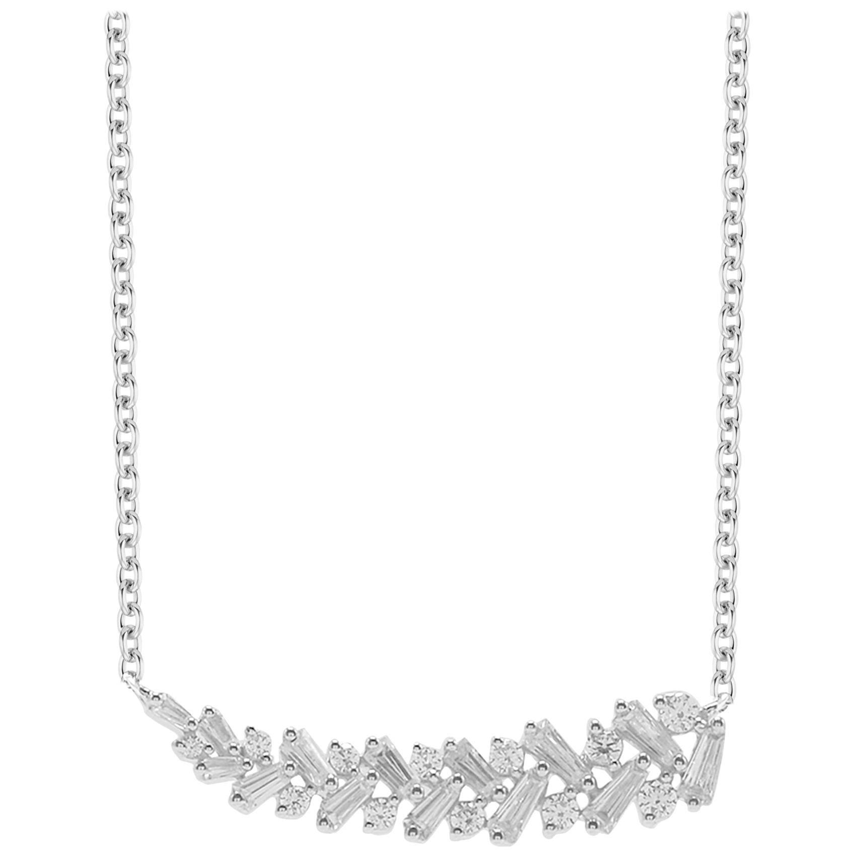 TJD 0.50 Carat Alternating Round & Baguette Diamond 14 K White Gold Bar Necklace