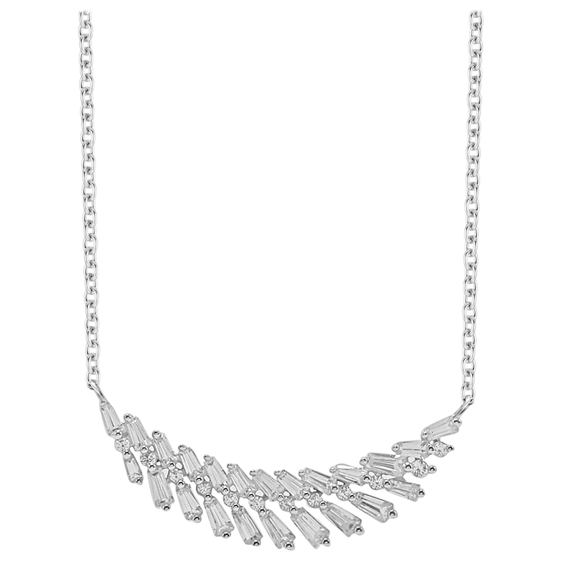 TJD 0.50 Carat Alternating Round and Baguette Diamond 14 K White Gold Necklace