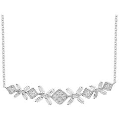 TJD 0.25 Carat Round & Baguette Diamond 14 Karat White Gold Designer Pendant