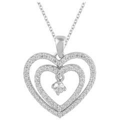TJD 0.50 Carat Diamond 14 Karat White Gold Beautiful Double Heart Pendant