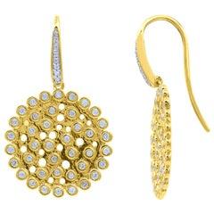 TJD 0.50 Carat Diamond 14 Karat Yellow Gold Circular Cluster Drop Earrings
