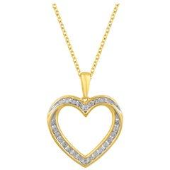 TJD 0.50 Carat Diamond 14 Karat Yellow Gold Heart Pendant with 18 inch chain