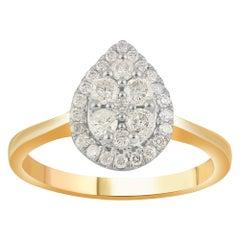 TJD 0.50 Carat Diamond 10 Karat Yellow Gold Pear Composite Halo Engagement Ring