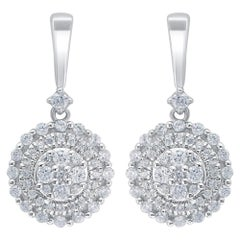 TJD 0.50 Carat Diamond 18 Karat White Gold Cluster Classic Dangling Earrings