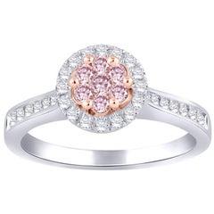TJD 0.50 Carat Pink and White Diamond 18 Karat White Gold Halo Cluster Ring