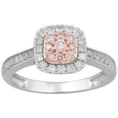 TJD 0.50 Carat Pink and White Diamond 18 Karat White Gold Halo Cushion Ring