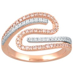 TJD 0.50 Carat Pink and White Diamond 18K Gold Twisted Crossover Wedding Band