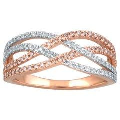 TJD 0.50 Carat Pink and White Diamond 18K Rose Gold Crisscross Wide Wedding Band