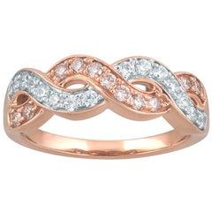 TJD 0.50 Carat Pink/White Diamond 18 Karat Gold Twisted Crisscross Wedding Band