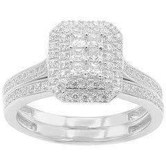 TJD 1/2 Carat Round & Princess Cut 14 Karat White Gold Stackable Bridal Set Ring