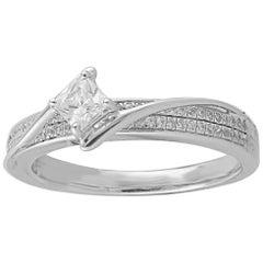 TJD 0.50 Carat Round and Princess Cut Diamond 14 Karat White Gold Ring