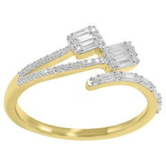 TJD 0.50 Carat Round Brilliant and Baguette Diamond 14 Karat White Gold Cross