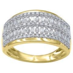 TJD 0.50 Carat Round Brilliant and Baguette Diamond 14 Karat White Gold