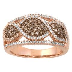 TJD 0.50 Carat White and Cognac Diamond 14K Rose Gold Infinity Wedding Band Ring
