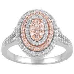 TJD 0.50 Ct Natural Pink Rosé & White Diamond 14K White Gold Engagement Ring