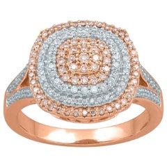 TJD 0.50 Carat Natural Pink Rosé & White Diamond 14K Rose Gold Engagement Ring