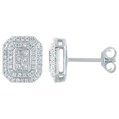 TJD 1/2Carat Round & Princess cut Diamond 14K White Gold Rectangle Stud Earrings
