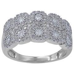 TJD 0.50 Carat Round Diamond 14Karat White Gold Cluster Wedding Anniversary Band
