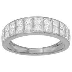 TJD 0.50 Carat Round Diamond 14 Karat White Gold Double row Wedding Band Ring