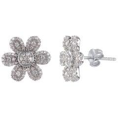 TJD 0.50 Carat Round Diamond 14K White Gold Flower Shape Cluster Stud Earrings