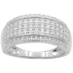 TJD 0.50 Carat Round Diamond 14 Karat White Gold Multi-row Anniversary Band Ring