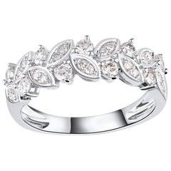 TJD 0.50 Carat Round Diamond 14 Karat White Gold Leaf Petal Wedding Band Ring