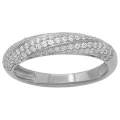 TJD 0.50 Carat Round Diamond 14K White Gold Spiral Wedding Anniversary Band Ring