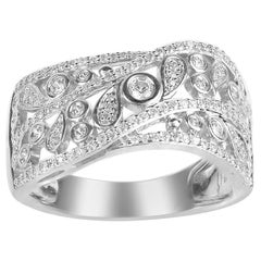 TJD 0.50 Carat Round Diamond 14 Karat White Gold Wave Wedding Band Ring