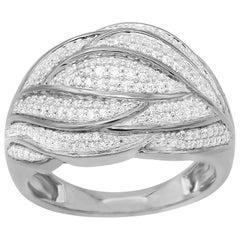TJD 0.50 Carat Round Diamond 14 Karat White Gold Wave Fashion Wedding Band Ring