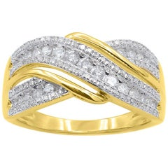 TJD 0.50 Carat Round Diamond 14 Karat Yellow Gold Cross-over Wedding Band Ring
