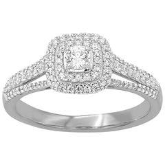 TJD 0.50 Carat Round Diamond 14 Karat White Gold Square Shaped Engagement Ring
