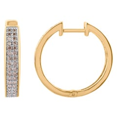 TJD 0.50 Carat Round Diamond 10 Karat Yellow Gold Two Row Classic Hoop Earrings
