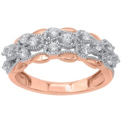 TJD 0.50 Carat Round Diamond 14 Karat Rose Gold Art Deco Style Wedding Band