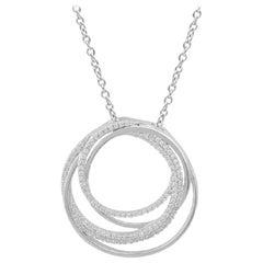 TJD 0.50 Carat Round Diamond 14k White Gold Interlinked Circle Fashion Pendant
