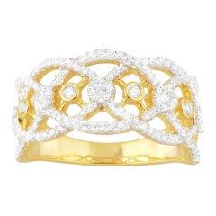 TJD 0.50 Carat Round Diamond 14K Yellow Gold Vintage Art Deco Wide Wedding Band