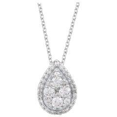 TJD 1.00 Carat Diamond 18 Karat White Gold Pear Shaped Cluster Pendant