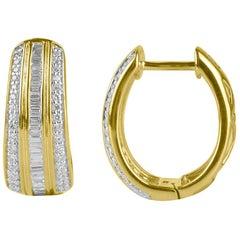 TJD 0.50Carat Round & Baguette Diamond 14 Karat Yellow Gold Huggie Hoop Earrings