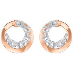TJD 0.55 Carat Diamond 18 Karat Two Tone Gold Chain Link Twist Earrings