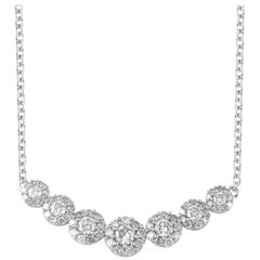 TJD 0.66 Carat Round Diamond 18 Karat White Gold Seven Stone Cluster Necklace