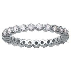TJD 0.70 Carat Round Diamond 18 Karat White Gold Full Classic Eternity Ring