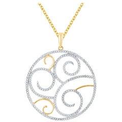 TJD 0.70 Carat Diamond 14 Karat Yellow Gold Filigree Spectacular Circle Pendant