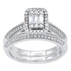 TJD 0.75 Carat Round and Baguette Diamond 14 Karat White Gold Bridal Ring Set