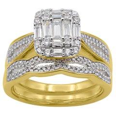 TJD 3/4Carat Round & Baguette Diamond 14K Yellow Gold Stackable Bridal Set Ring