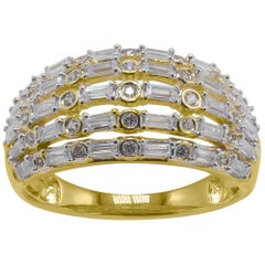 TJD 0.75 Carat Baguette & Round Diamond 14K Yellow Gold Dome Shape Wedding Ring