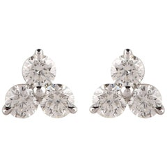 TJD 0.75 Carat 3 Stone Round Diamond 14 Karat White Gold Earrings