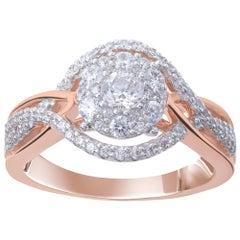 TJD 0.75 Carat Brilliant Cut 18 Karat Rose Gold Diamond Engagement Ring