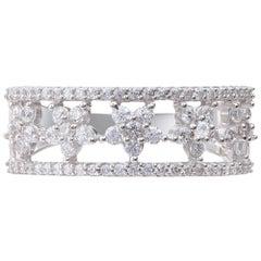 TJD 0.75 Carat Brilliant Cut 18 Karat White Gold Diamond Wedding Band