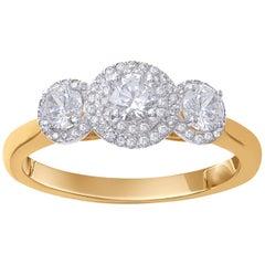 TJD 0.75 Carat Diamond 18 Karat Yellow Gold Vintage 3-Stone Cluster Ring