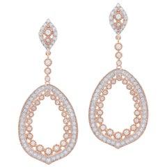 TJD 0.75 Carat Diamond 18 Karat Rose Gold Open Leaf Shape Dangling Earrings
