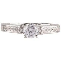 TJD GIA Certified 0.75 Carat Diamond 18 Karat White Gold Vintage Engagement Ring